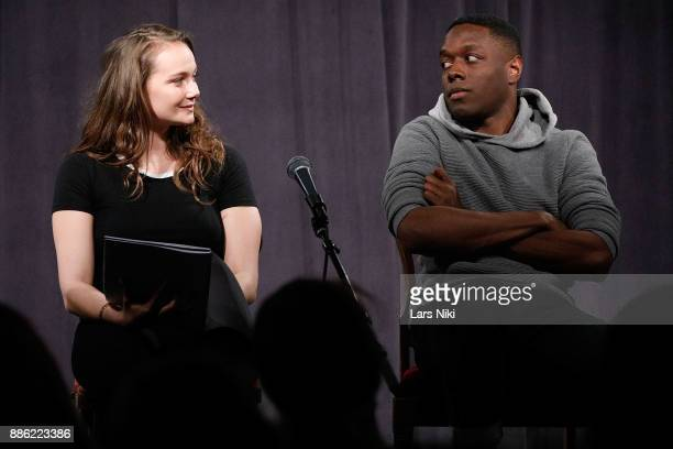 Actors Andi Matichak and Ronald Peet on stage during The Hamptons International Film Festival's Screenplay Reading of Mickey and the Bear at The...