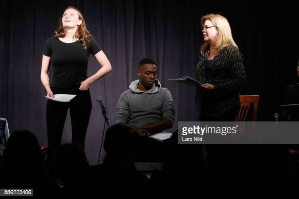 Actors Andi Matichak Ronald Peet and Catherine Curtin on stage during The Hamptons International Film Festival's Screenplay Reading of Mickey and the...