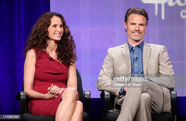 Actors Andie MacDowell and Dylan Neal speak onstage during the Debbie Macomber's Cedar Cove panel at the Hallmark Channel and Hallmark Movie Channel...