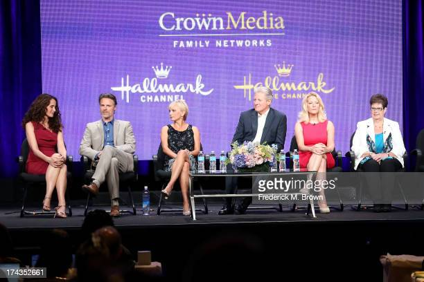 Actors Andie MacDowell Dylan Neal Teryl Rothery Bruce Boxleitner Barbara Niven and author Debbie Macomber speak onstage during the Debbie Macomber's...
