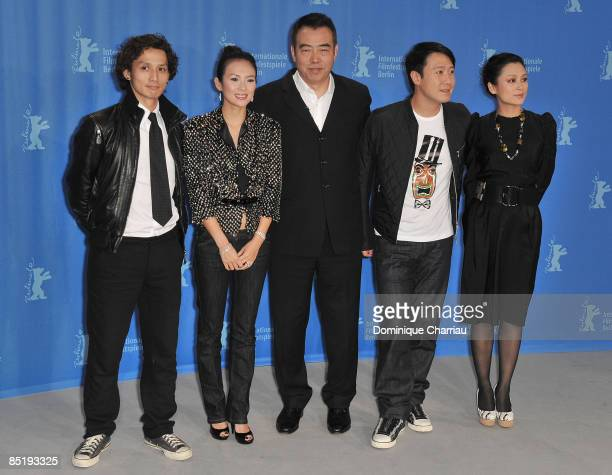Actors Ando Masanobu Zhang Ziyi director Chen Kaige actors Leon Lai and Chen Hong attend the Forever Enthralled photocall during the 59th Berlin...