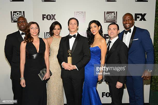 Actors Andre Braugher Chelsea Peretti Melissa Fumero Andy Samberg Stephanie Beatriz Joe Lo Truglio and Terry Crews from the cast of 'Brooklyn...