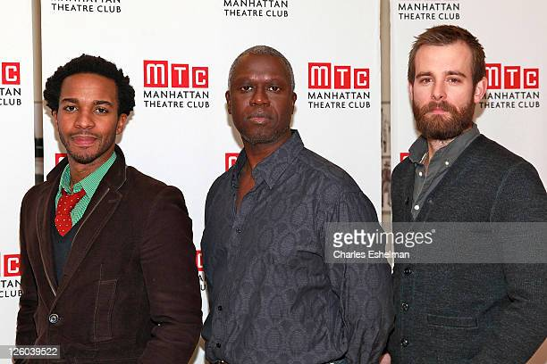 Actors Andre Holland Andre Braugher and Jay Wilkinson attend The Whipping Man cast photo call at the Manhattan Theater Club on December 17 2010 in...