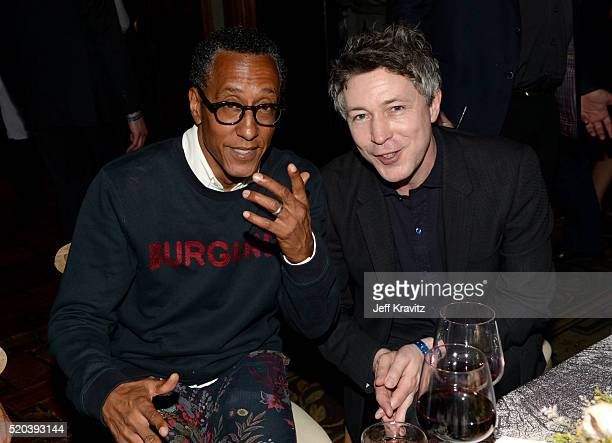 Actors Andre Royo and Aidan Gillen attend the after party at the premiere for the sixth season of HBO's 'Game Of Thrones' at TCL Chinese Theatre on...