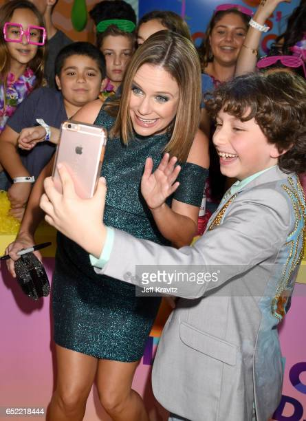 Actors Andrea Barber and August Maturo at Nickelodeon's 2017 Kids' Choice Awards at USC Galen Center on March 11 2017 in Los Angeles California