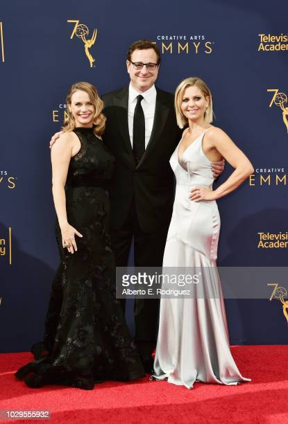 Actors Andrea Barber Bob Saget and Candace Cameron Bure attend the 2018 Creative Arts Emmy Awards at Microsoft Theater on September 8 2018 in Los...