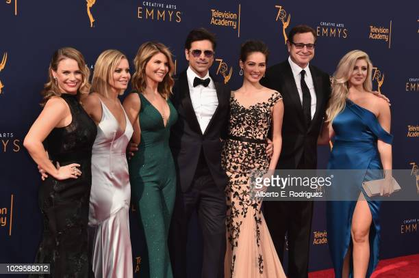 Actors Andrea Barber Candace Cameron Bure Lori Loughlin John Stamos Caitlin McHugh Bob Saget and Kelly Rizzo attend the 2018 Creative Arts Emmy...