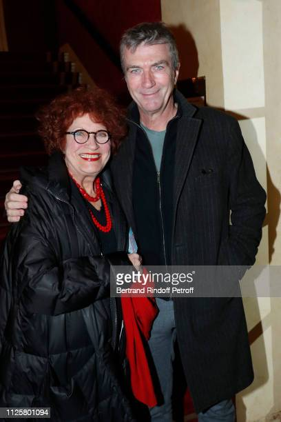 Actors Andrea Ferreol and Philippe Caroit attend the Michele Bernier One Woman Show 'Vive Demain ' at Theatre des Varietes on January 28 2019 in...