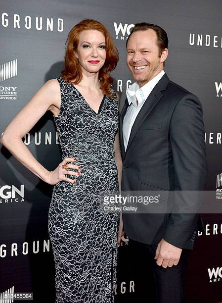 Actors Andrea Frankle and PJ Marshall attend WGN America's 'Underground' World Premiere on March 2 2016 in Los Angeles California