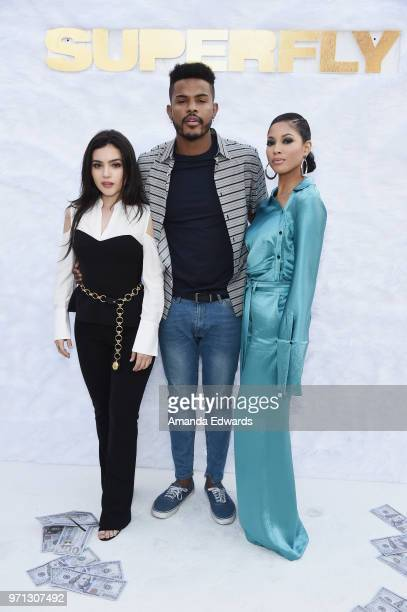Actors Andrea Londo Trevor Jackson and Lex Scott Davis arrive at a special screening of 'SuperFly' hosted by Sony Pictures Entertainment at Sony...