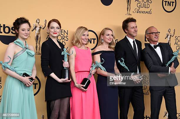 Actors Andrea Riseborough Emma Stone Amy Ryan Naomi Watts Edward Norton and Michael Keaton winners of Outstanding Performance by a Cast in a Motion...