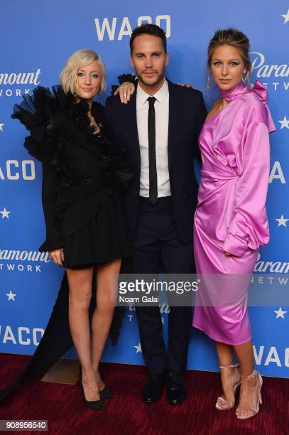 Actors Andrea Riseborough Taylor Kitsch and Melissa Benoist attend the world premiere of WACO presented by Paramount Network at Jazz at Lincoln...