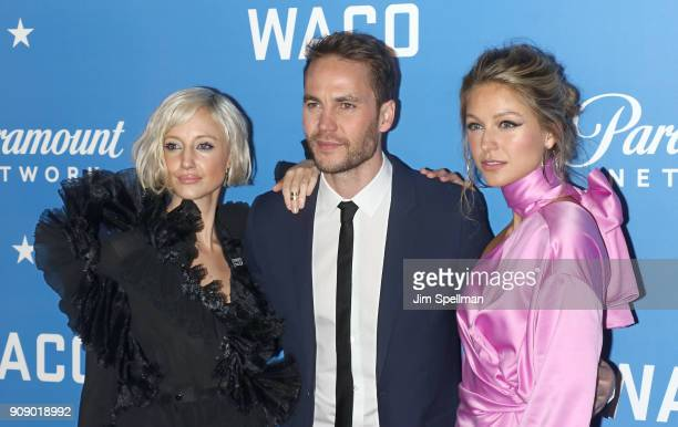 Actors Andrea Riseborough Taylor Kitsch and Melissa Benoist attend the 'Waco' world premiere at Jazz at Lincoln Center on January 22 2018 in New York...