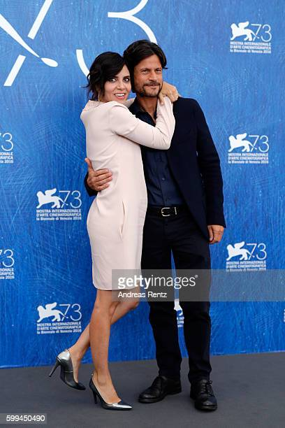 Actors Andrea Sartoretti and Claudia Potenza attend a photocall for 'Mountain' during the 73rd Venice Film Festival at on September 5 2016 in Venice...