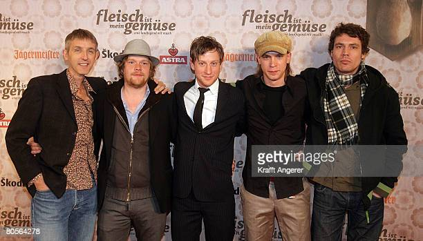 Actors Andreas Schmidt Oliver Broecker Maxim Mehmet Jona Mues and Martin Brauer attend the premiere of the film 'Fleisch Ist Mein Gemuese' at the...