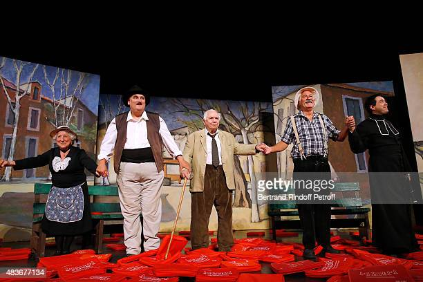 Actors Andree Damant Actor and Stage Director of the piece JeanClaude Baudracco Michel Galabru Bernard Larmande and Philippe Sablayrolles acknowledge...