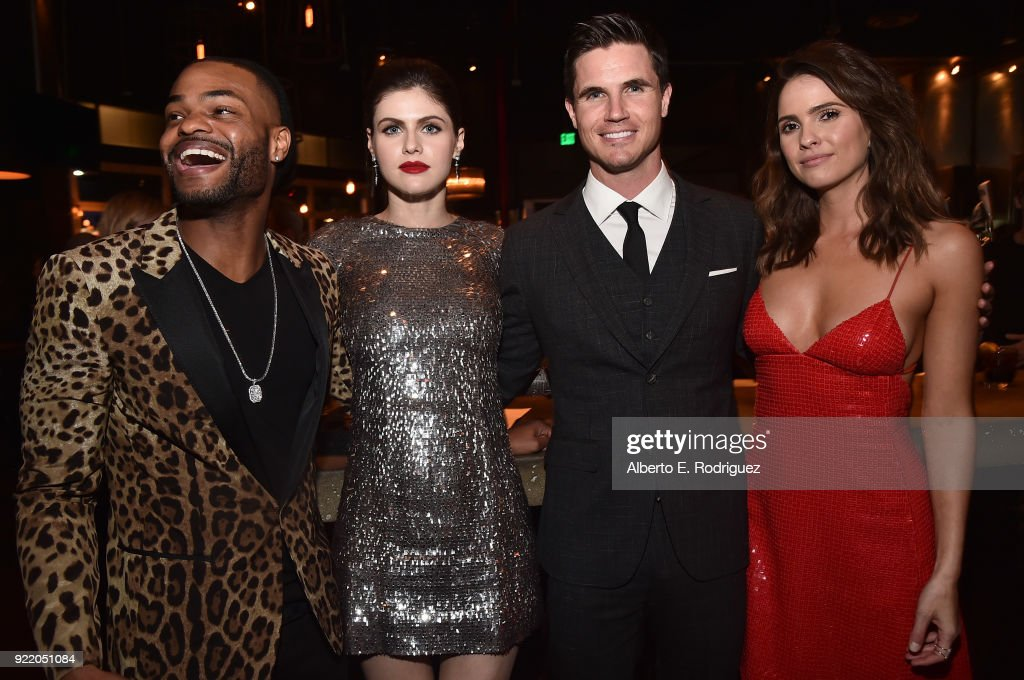 Actors Andrew Bachelor, Alexandra Daddario, Robbie Amell and Shelley Hennig attend the after party for a special screening of Netflix's 'When We First Met' at ArcLight Hollywood on February 20, 2018 in Hollywood, California.