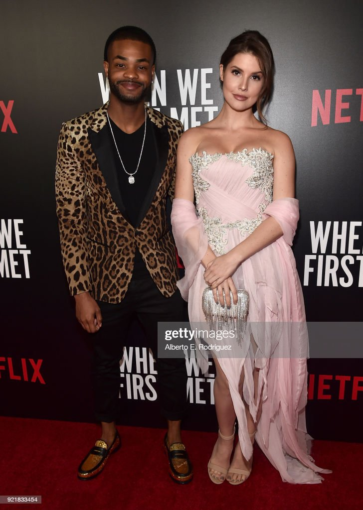 Actors Andrew Bachelor and Amanda Cerny attend a special screening of Netflix's 'When We First Met' at ArcLight Hollywood on February 20, 2018 in Hollywood, California.