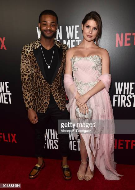 Actors Andrew Bachelor and Amanda Cerny attend a special screening of Netflix's 'When We First Met' at ArcLight Hollywood on February 20 2018 in...