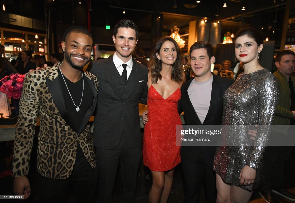 Actors Andrew Bachelor, Robbie Amell, Shelley Hennig, Adam DeVine and Alexandra Daddario attend Special Screening Of Netflix Original Film' 'When We First Met' at ArcLight Theaters at ArcLight Hollywood on February 20, 2018 in Hollywood, California.