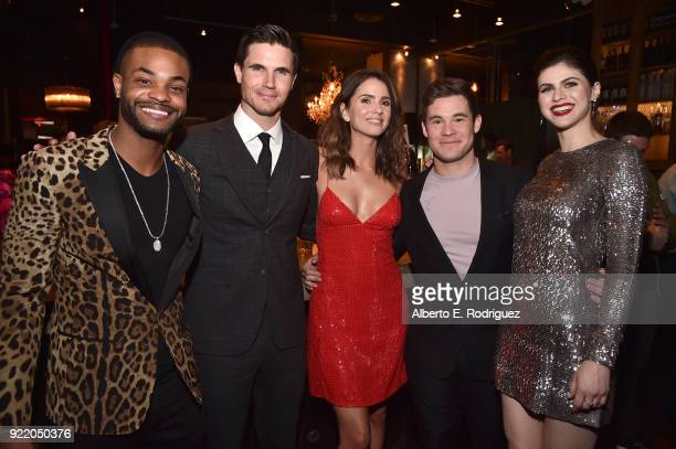 Actors Andrew Bachelor Robbie Amell Shelley Hennig Adam Devine and Alexandra Daddario attend the after party for a special screening of Netflix's...