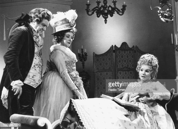 Actors Andrew Cruickshank Beryl Reid and Jennie Linden in a scene from the BBC Play of the Month 'The Rivals' February 8th 1970