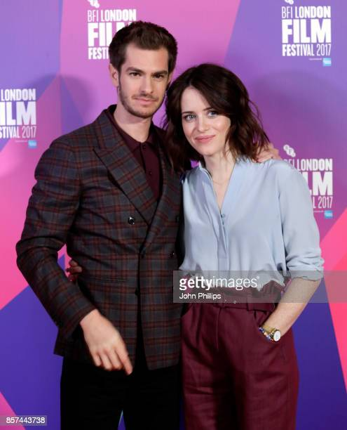 Actors Andrew Garfield and Claire Foy attend a photocall for 'Breathe' during the 61st BFI London Film Festival on October 4 2017 in London England
