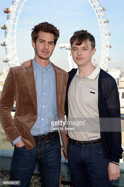 Actors Andrew Garfield and Dane DeHaan attend 'The Amazing SpiderMan 2' photocall at Park Plaza Westminster Bridge Hotel on April 9 2014 in London...