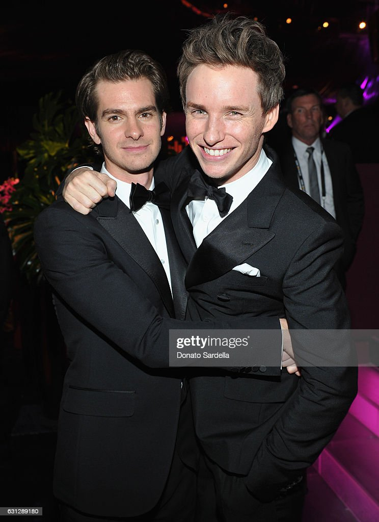 Actors Andrew Garfield (L) and Eddie Redmayne attend The 2017 InStyle and Warner Bros. 73rd Annual Golden Globe Awards Post-Party at The Beverly Hilton Hotel on January 8, 2017 in Beverly Hills, California.