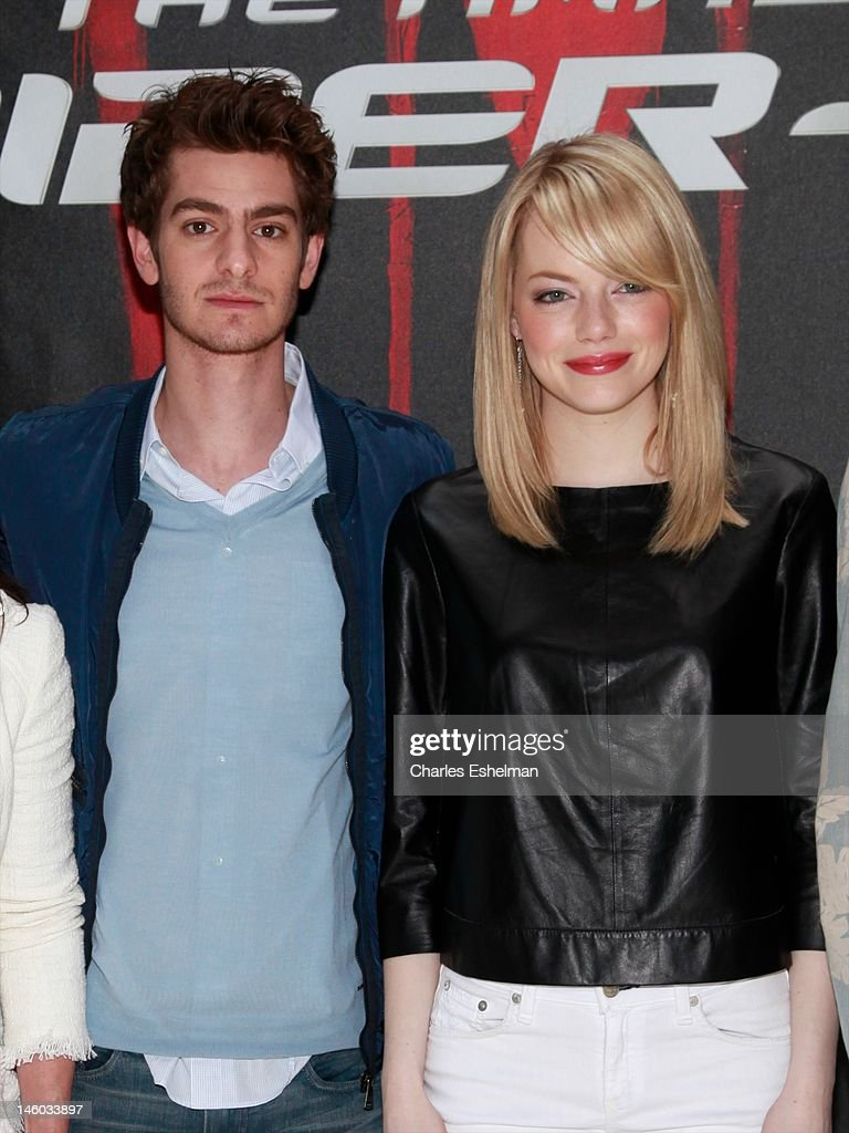 Actors Andrew Garfield and Emma Stone attend the 'The Amazing Spider-Man' New York City Photo Call at Crosby Street Hotel on June 9, 2012 in New York City.