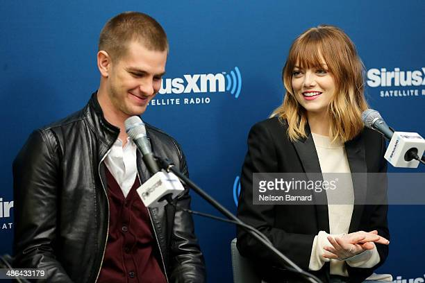 Actors Andrew Garfield and Emma Stone of the cast of 'The Amazing SpiderMan 2' answer questions from fans during a SiriusXM 'Town Hall' special with...
