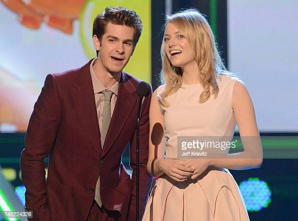 Actors Andrew Garfield and Emma Stone onstage at the 2012 Nickelodeon's Kids' Choice Awards at Galen Center on March 31 2012 in Los Angeles California