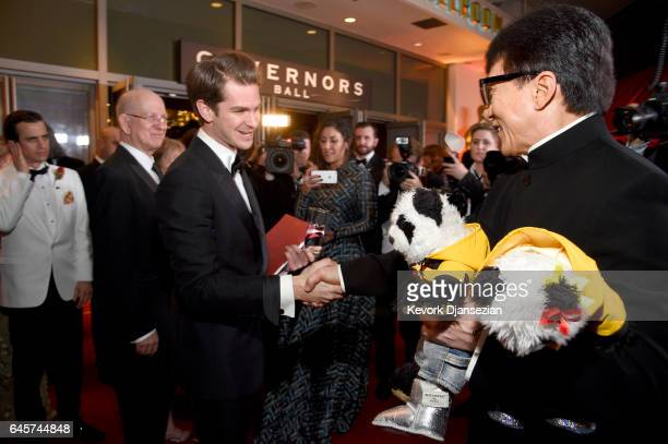 Actors Andrew Garfield and Jackie Chan attend the 89th Annual Academy Awards Governors Ball at Hollywood Highland Center on February 26 2017 in...