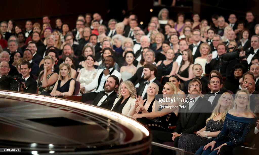 Actors Andrew Garfield, Charlize Theron, Casey Affleck, Michelle Williams, Busy Philipps and Meryl Streep attend the 89th Annual Academy Awards at Hollywood & Highland Center on February 26, 2017 in Hollywood, California.