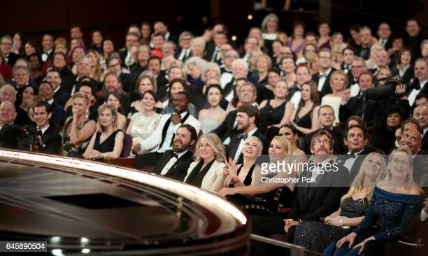 Actors Andrew Garfield Charlize Theron Casey Affleck Michelle Williams Busy Philipps and Meryl Streep attend the 89th Annual Academy Awards at...