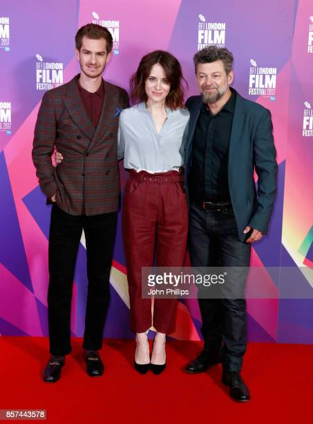 Actors Andrew Garfield Claire Foy and director Andy Serkis attend a photocall for 'Breathe' during the 61st BFI London Film Festival on October 4...