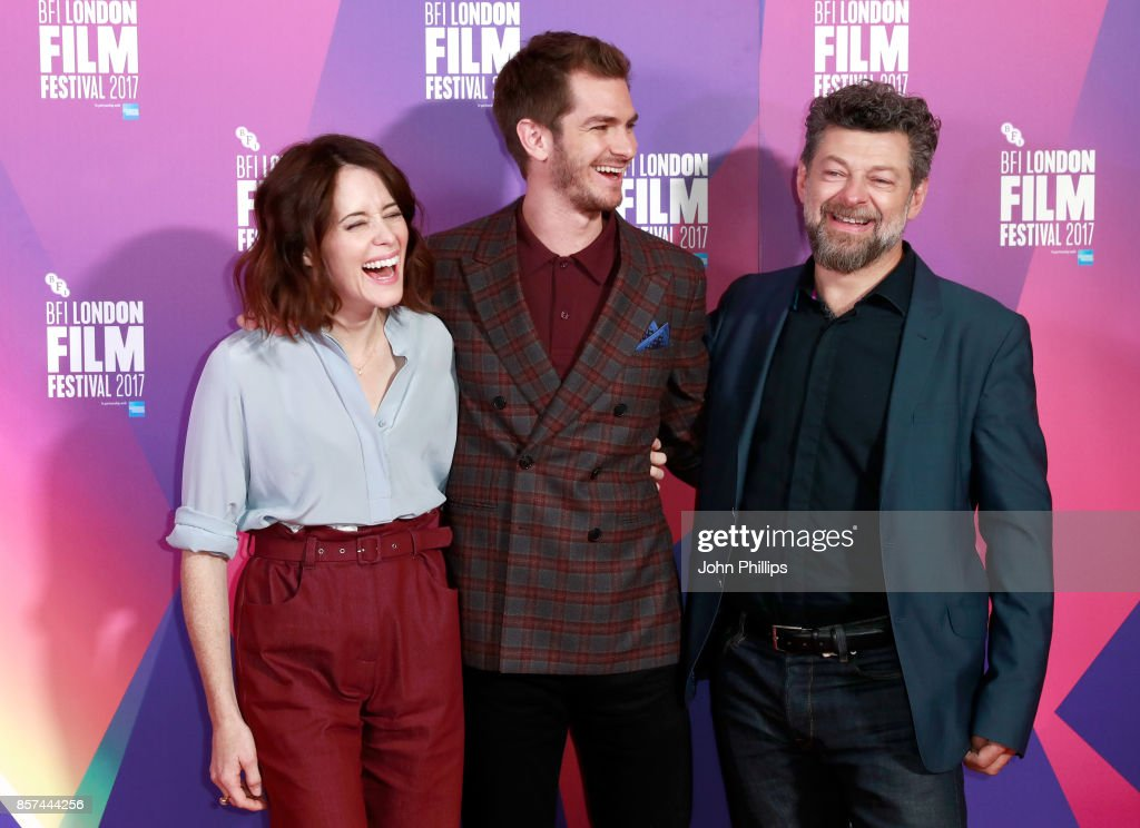 Actors Andrew Garfield, Claire Foy and director Andy Serkis attend a photocall for 'Breathe' during the 61st BFI London Film Festival on October 4, 2017 in London, England.