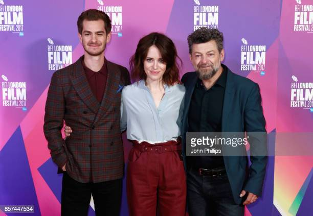 Actors Andrew Garfield Claire Foy and director Andy Serkis attend a photocall for Breathe during the 61st BFI London Film Festival on October 4 2017...