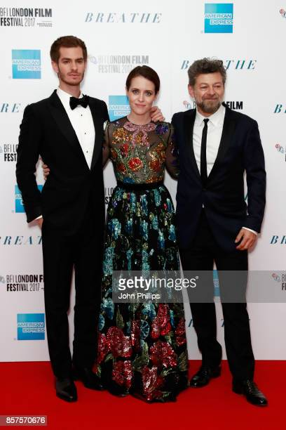 Actors Andrew Garfield Claire Foy and director Andy Serkis attend the European Premiere of 'Breathe' on the opening night gala of the 61st BFI London...