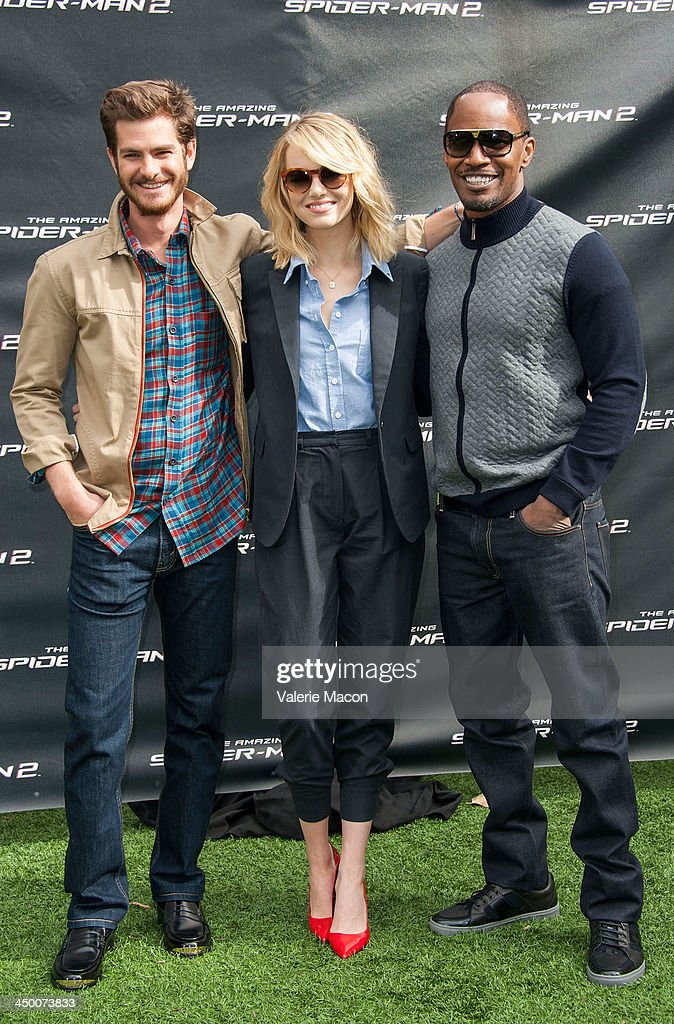 Actors Andrew Garfield, Emma Stone and Jamie Foxx pose at 'The Amazing Spiderman 2' Los Angeles Photo Call at Sony Pictures Studios on November 16, 2013 in Culver City, California.