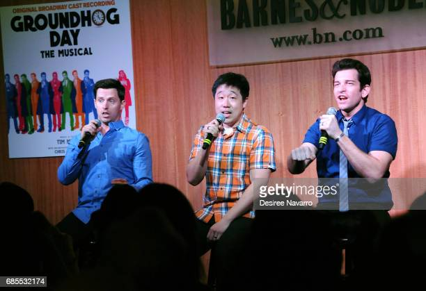 Actors Andrew Hall Raymond J Lee and Andy Karl attend 'Groundhog Day The Musical' signing and performance event at Barnes Noble 86th Lexington on May...