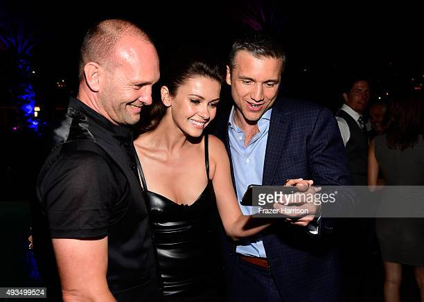 Actors Andrew Howard Olga Fonda and Jeff Hephner take a selfie at TNT's Agent X screening at The London West Hollywood on October 20 2015 in West...
