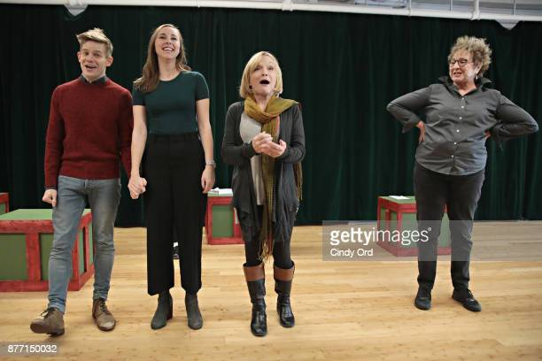 Actors Andrew KeenanBolger Samantha Hill Cathy Rigby and Pamela Myers participate in Kris Kringle The Musical preview presentation at Ripley Greer...