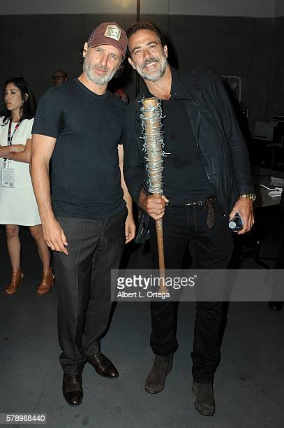 Actors Andrew Lincoln and Jeffrey Dean Morgan attend AMC's 'The Walking Dead' panel during ComicCon International 2016 at San Diego Convention Center...