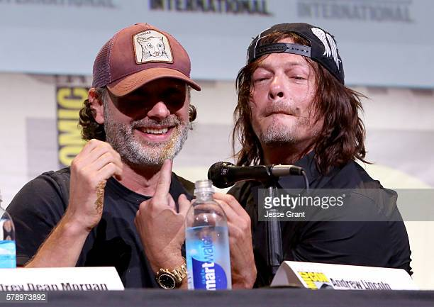 Actors Andrew Lincoln and Norman Reedus attend AMC's 'The Walking Dead' Panel during ComicCon International 2016 on July 22 2016 in San Diego...