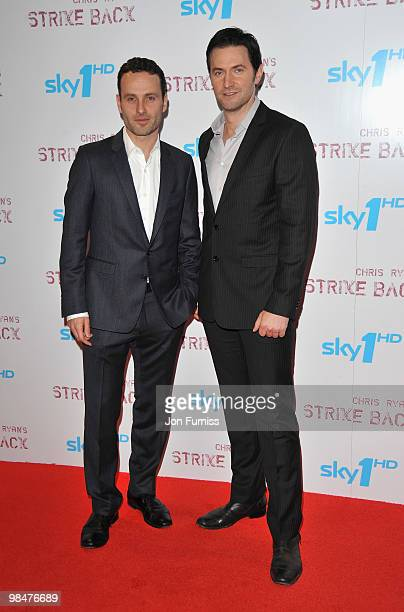 Actors Andrew Lincoln and Richard Armitage attend the special premiere of Sky One's 'Strike Back' at the Vue West End on April 15 2010 in London...