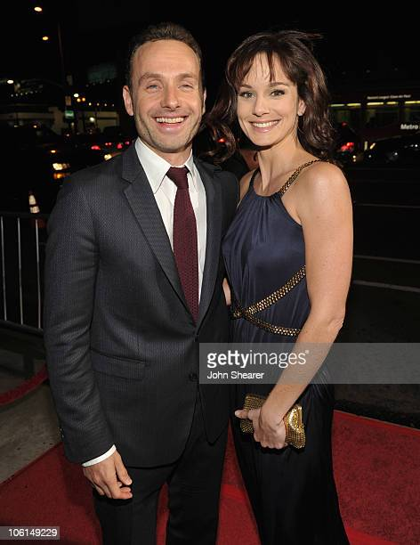 "Actors Andrew Lincoln and Sarah Wayne Callies attends the AMC premiere of ""The Walking Dead"" at ArcLight Cinemas Cinerama Dome on October 26, 2010 in..."