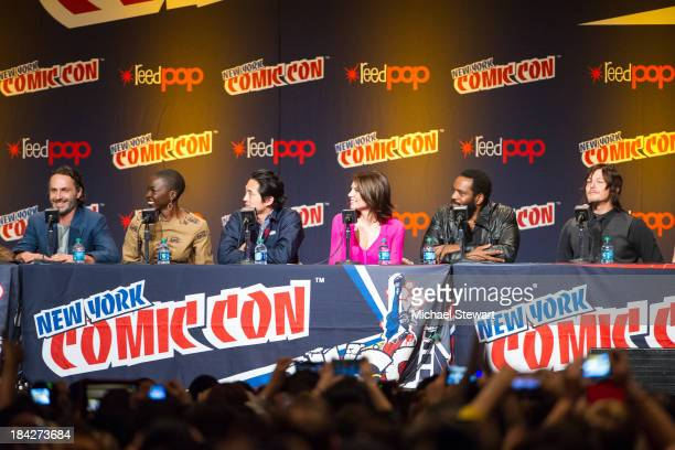 Actors Andrew Lincoln Danai Gurira Steven Yeun Lauren Cohan Chad L Coleman and Norman Reedus attends New York Comic Con 2013 at Jacob Javits Center...