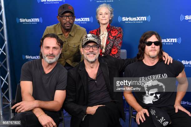 Actors Andrew Lincoln Lennie James Jeffrey Dean Morgan Melissa McBride and Norman Reedus speak during the SiriusXM 'Town Hall' with the Cast of The...