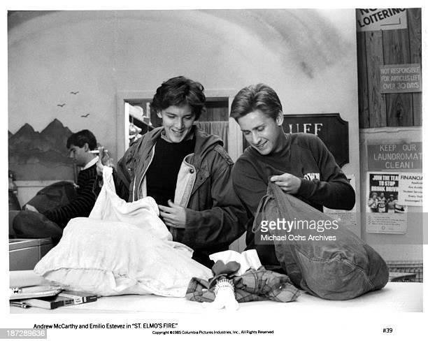 Actors Andrew McCarthy and Emilio Estevez on set of the Columbia Pictures movie 'St Elmo's Fire' in 1985